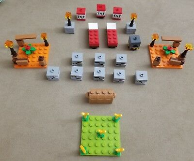 Lego Minecraft Home Building Accessories Bed Furnace Torches Flowers