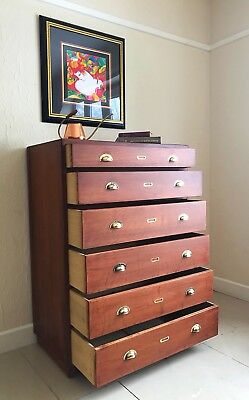 Vintage Haberdashery Shop Tallboy Plan Collectors Chest Of Drawers Cabinet