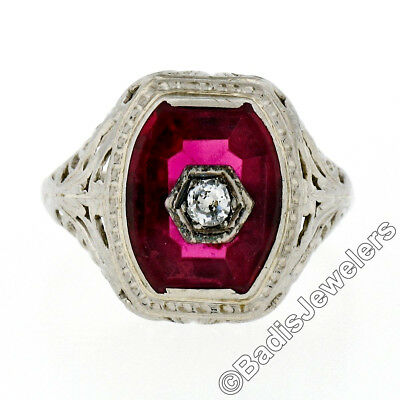 Antique Art Deco 14K White Gold Red Stone Old European Cut Diamond Filigree Ring