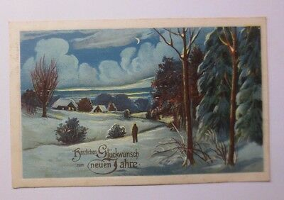 """"""" New Year, Winter Landscape, Forest """" 1907, Embossed Postcard (52875)"""