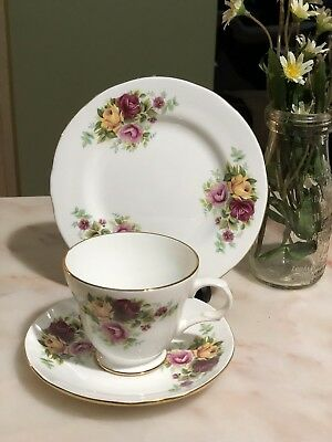 ANTIQUE VINTAGE TRIO CUP SAUCER PLATE CSP HIGH TEA ~* Crown Trent PINK RED ROSES