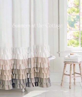 French Country Cottage Farmhouse Taupe Creamy Ivory Ruffle Shower Curtain New