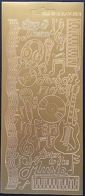 Music Dazzles CD Guitars Peel Off Stickers Card Making Scrapbooking Gold