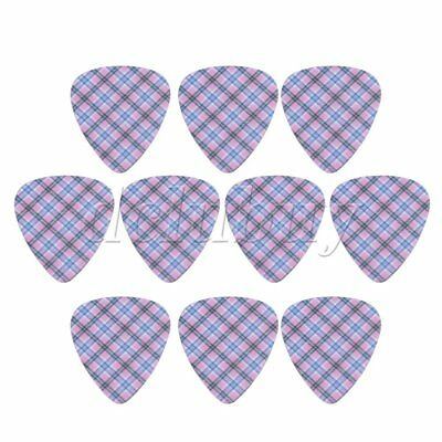Plastic Guitar Picks Mini Blue Grid Pattern 0.46mm Thickness Set of 10
