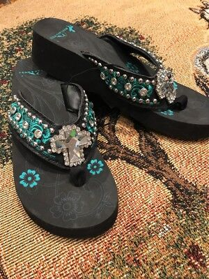 85dbeeb3c Bling Flip Flops Rhinestone Montana West Embroidered Sandals Size 9 MSRP  50