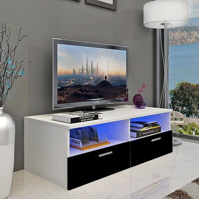 Led TV Stand Unit Cabinet Storage 2 Drawers High Gloss With Shelves Black UK
