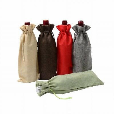 1/12PCS Rustic Natural Jute Burlap Wine Bag Drawstring Hessian Bottle Gift Cover