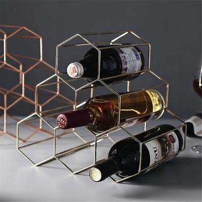Simple 6 Bottles Golden Metal Wine Cabinet Storage Rack Holder Bar Organiser