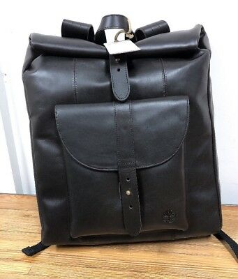 TIMBERLAND NWT TBL Calexico Black Roll Top Leather Backpack