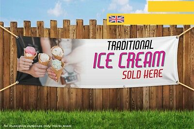 Traditional Ice Cream Sold Here Heavy Duty PVC Banner Sign 3329