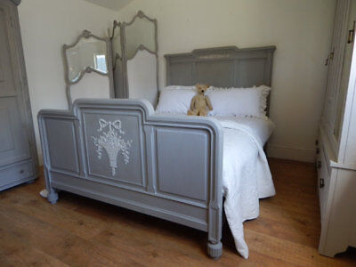 Antique french bed with new slat base