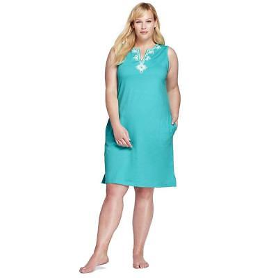 14d86f0627 Lands' End Women's Plus Size Cotton Embellished Tunic Dress Cover-up