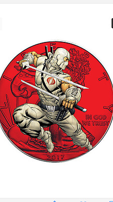 2017 1 Oz Ounce Silver American Eagle .999 G.i. Joe Storm Shadow Colorized Coin