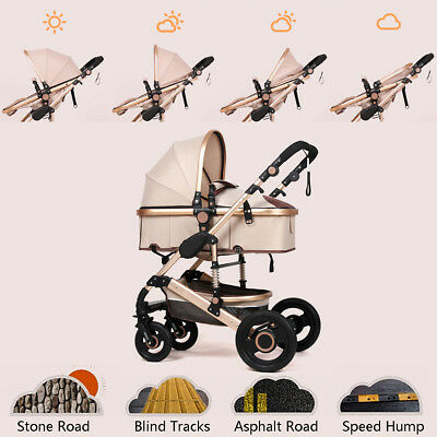25KG Bassinet +Baby Stroller Pram Kid Newborn Jogger Reversible Pushchair Khaki