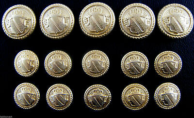 A Set of Gold Metal Military Shield Blazer Buttons
