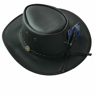 Hazy Blue Melbourne Australian Style Waterproof Bute Leather Hat Brown