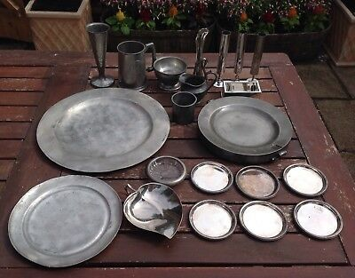 Job Lot 21 Silver Plated Pewter Items 5.5Kg Plates Food Warmer Swatow Vase Bowl
