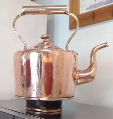 Stunning Antique Victorian Copper And Brass Aga Range Kettle  Large 12 Pint