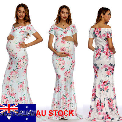 Pregnant Women Floral Print Maternity Gown Maxi Dress Photography Props Clothes