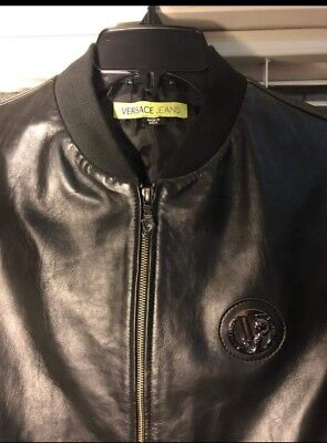 59af786c54 GENUINE NEW VERSACE Leather Bomber Jacket - men's medium