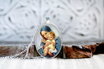 Mother Mary Pendant, Madonna and Child, Religious Pendant, Mother of Jesus #10
