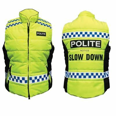 Equisafety Polite Quilted Hi-Vis Flourescent Gilet Please Slow Down Yellow S-XL