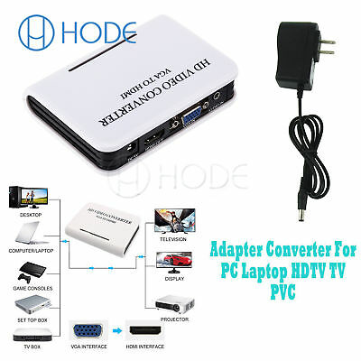 Audio VGA to HDMI Converter 1080P HD TV Video Adapter Box For Laptop PC UK