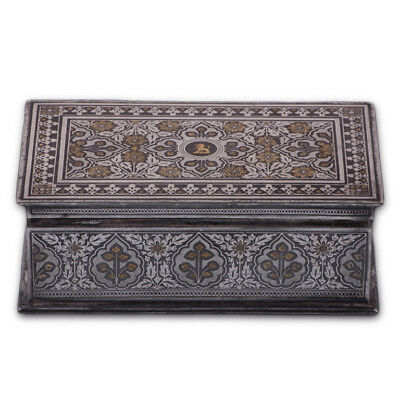 Beautiful Antique Indian Koftgari Box With Wooden Interior,  India, 19Th Century