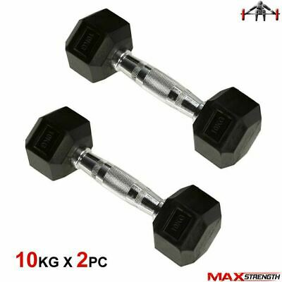 2x 10kg Hex Dumbbell Set Ergo Weight Home Gym Tricep Workout Fitness Training