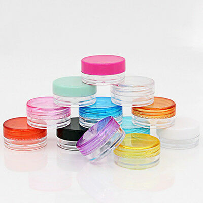 10X/Set Plastic Empty Jar Nail Art Cosmetic Storage Container Cord Round Bottles
