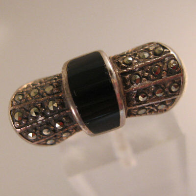 Art Deco Style Onyx Marcasite Bowtie Ring Sterling Silver Size 6 Sgd ND Vintage