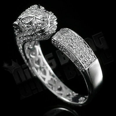 18K White Gold ICED OUT Lab Diamond Panther Jaguar Band Mens Silver Rhodium Ring