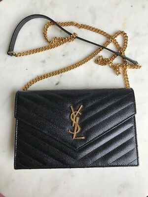 b65f368ff1 Yves Saint Laurent YSL Wallet on Chain WOC Black Chevron Grained Leather