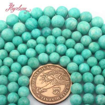 """Smooth Round Green Russia Amazonite Natural Stone Loose Beads Jewelry Making 15"""""""