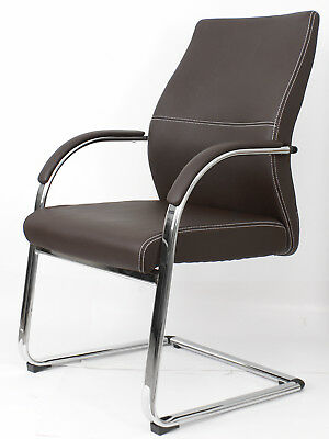 Chair Office Swivel Confident Adjustable Armrest Simile Leather Brown