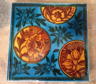 A Set Of 10 Beautiful Victorian Fire Tiles Stunning Colour Maw & Co Ref 1120