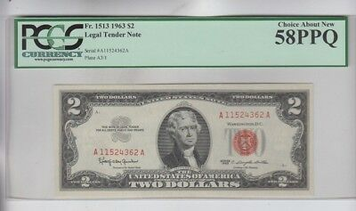 Legal Tender $2 Red Seal 1963 PCGS graded choice about new 58PPQ