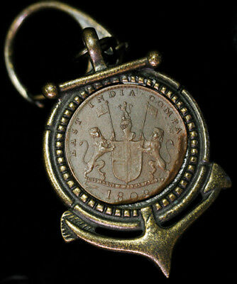 Antique 1808 East India Company 10 Cash in Anchor Pendant / Key Chain Carabiner