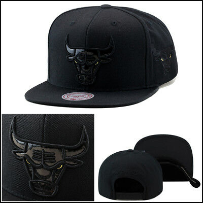 68d6ff49 Mitchell & Ness Chicago Bulls Snapback Hat All Black/GOLD EYES Patent  Leather
