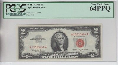 Legal Tender $2 Red Seal 1963 PCGS graded very choice new 64PPQ