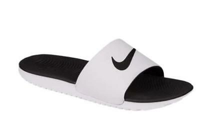 d92946be44cee9 Men s NIKE KAWA SLIDES 832646 White+Black Flip Flops Slides Sandals Shoes  NEW