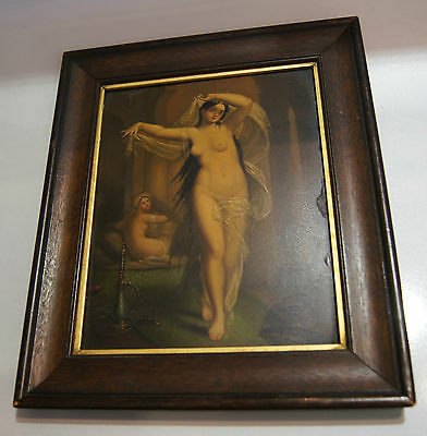 Painting On Tin Antique Jeune Bayadere Felon Dancing Nude Beauty Frame Rare