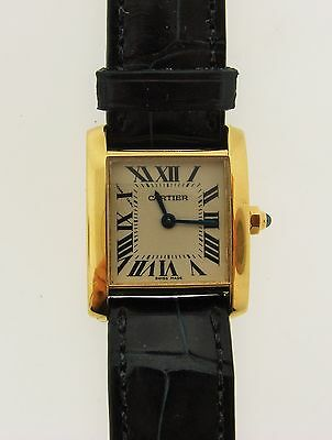 Vintage 18K 750 Yellow Gold Water Resistant Cartier Watch Leather Extra Strap