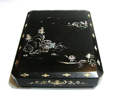 Unique Rare Chinese Box With Mother Of Pearl Large Black Decor Great Gift
