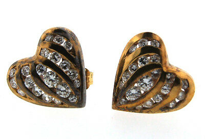 CUTESIE 14k Yellow Gold & Diamond Heart Shaped Earrings Circa 1990!
