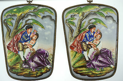 """Capodimonte Porcelain 2 Picture Set """"Lovers With Flowers"""" C.1950 Gorgeous"""