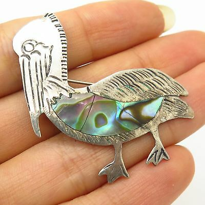 Vtg Mexico 925 Sterling Silver Real Abalone Shell Pelican Bird Design Pin Brooch