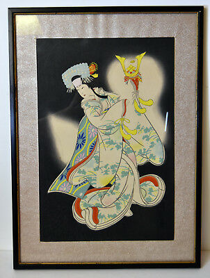 Vintage Hand Colored Japanese Etching Young Woman Geisha Traditional Kimono