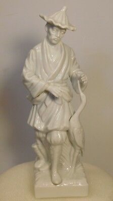 "Fitz & Floyd Chine en Blanc White Porcelain Figurine Asian Man and Crane 8""H"