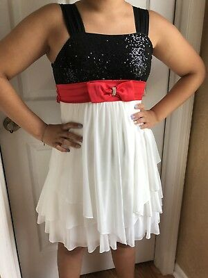 f8699d6f4c841 SEQUIN HEARTS GIRLS dress Size 16 Sequined Tiered Skirt White Black Red  Satin Bo